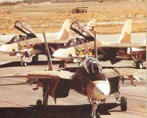 هواپیمای F-14 تامکت ایرانی در حال تاکسی به سمت باند برخاست